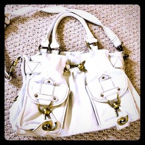 Bags - White leather satchel and shoulder bag